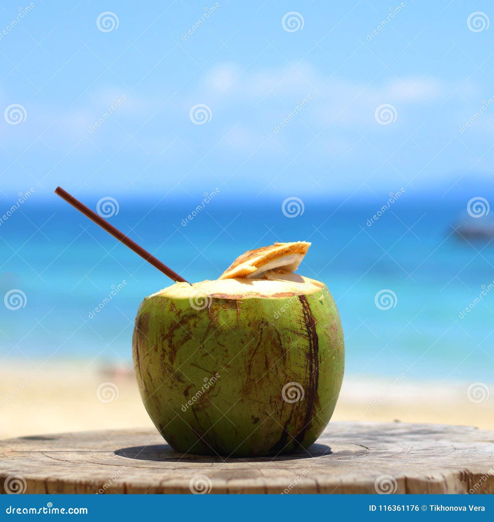 Coconut juice on the beach