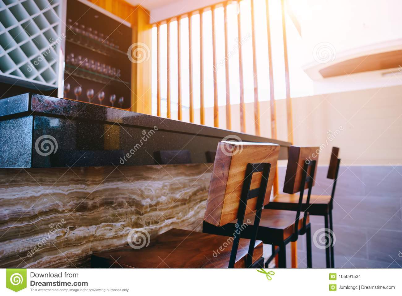 Drinking Counter And Bar In Sweet Home With Morning Light. Stock ...