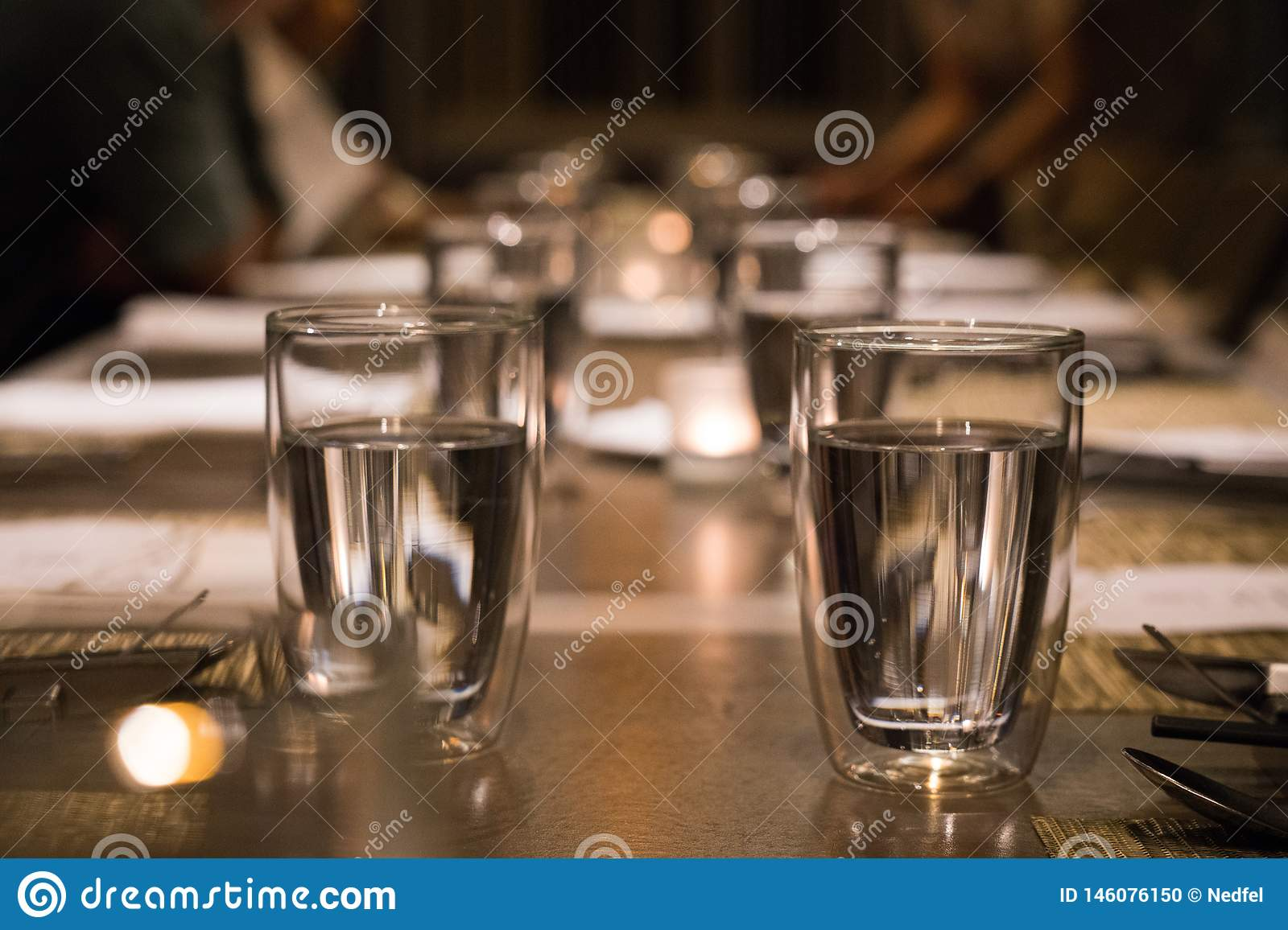 Drinking glass on the dining table