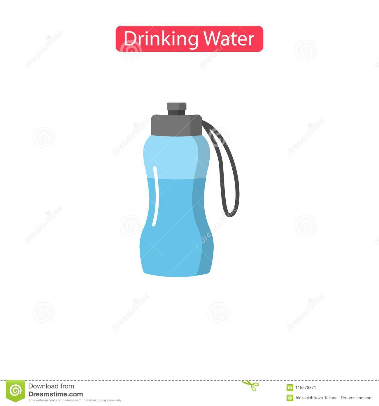 Drinking Water Fit Icons Stock Vector Illustration Of Linear
