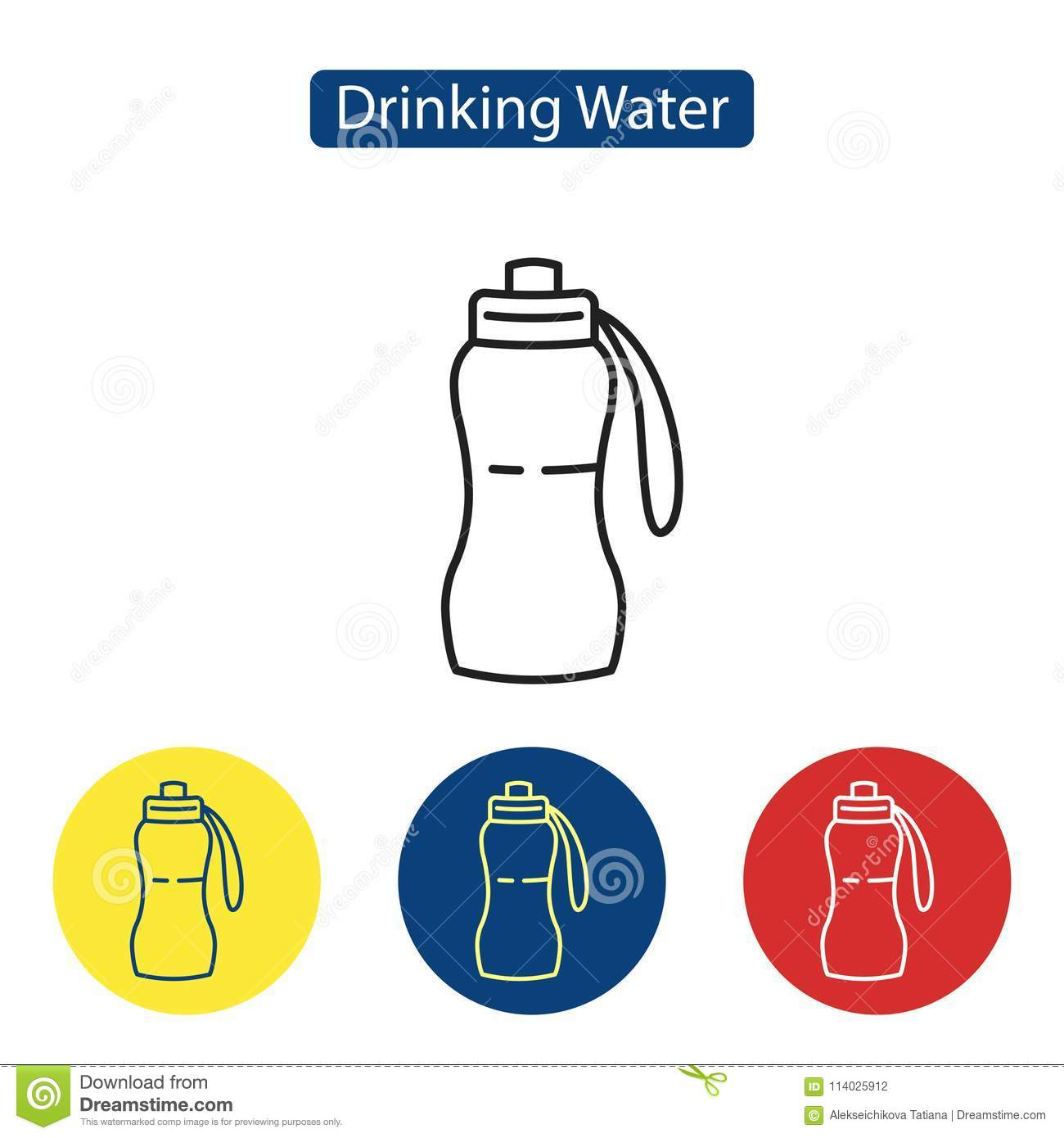 Drinking Water Fit Icons Stock Vector Illustration Of Accessory