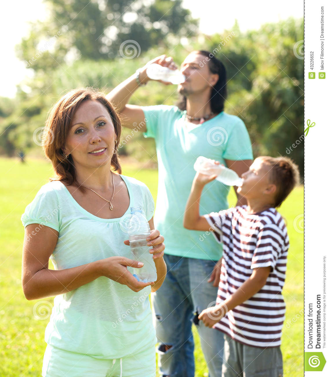Drinking Water In Summer Park Stock Photo Image 43226652