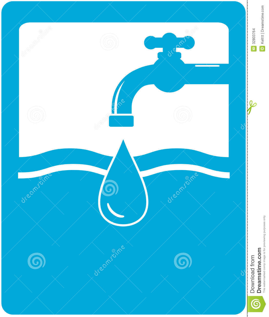 Drinking Water Faucet >> Drinking Water Symbol With Faucet, Tap And Water D Stock ...