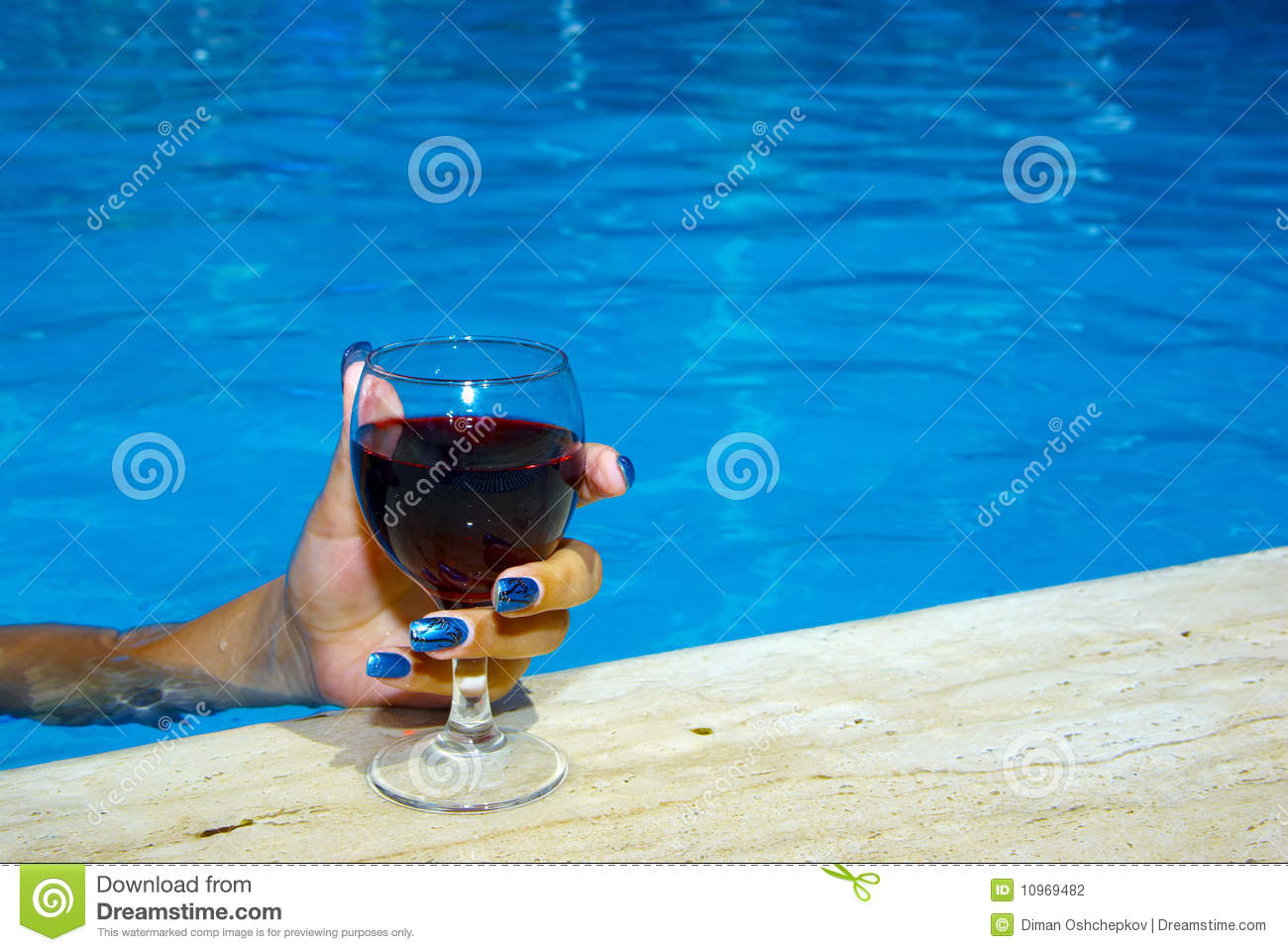 Drinking Wine In The Pool Stock Photography Image 10969482