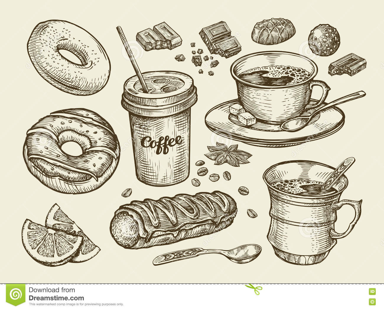 Drinks And Food. Hand Drawn Coffee, Tea, Cup, Dessert ...