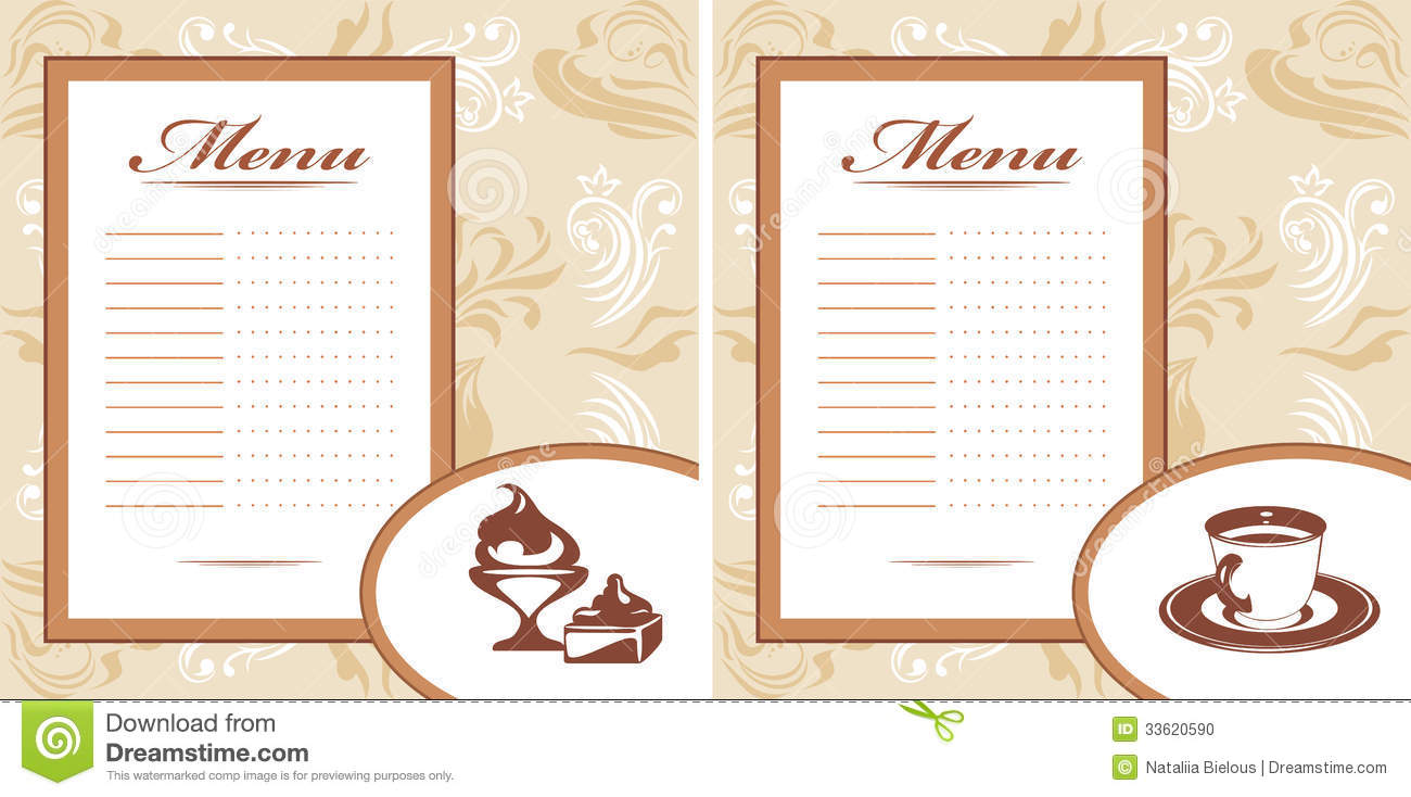 drinks pastry and ice cream menu card template stock vector