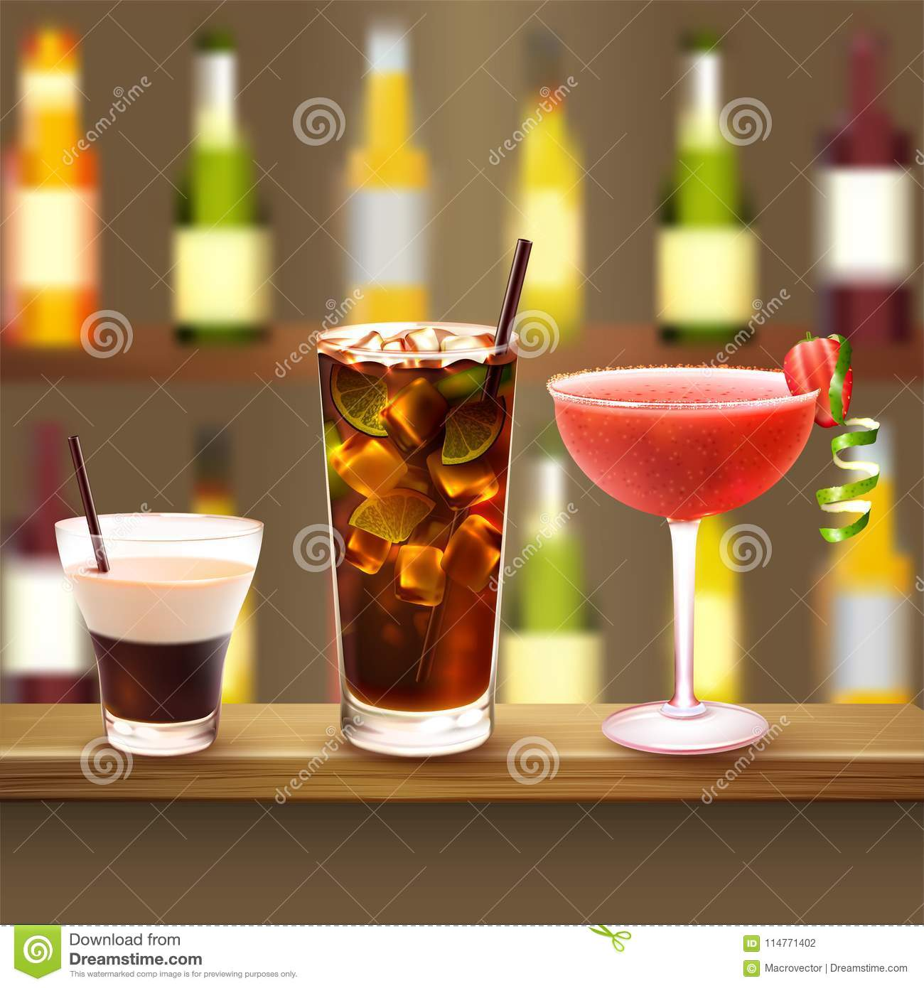 Bar Cocktails Set Composition Stock Vector - Illustration of