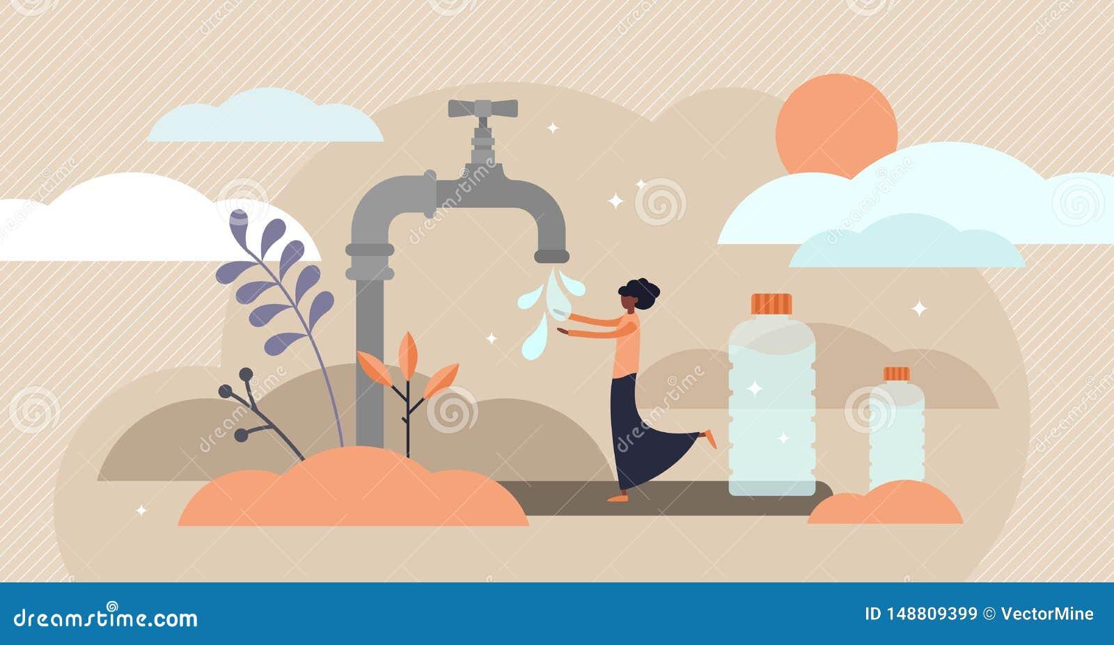 Drinkwater vectorillustratie Vlak uiterst klein drinkbaar de persoonsconcept van Afrika