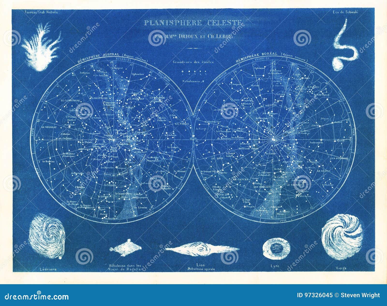 Drioux 1882 & Leroy Planisphere Celeste: Grafici di stella di nord e sud