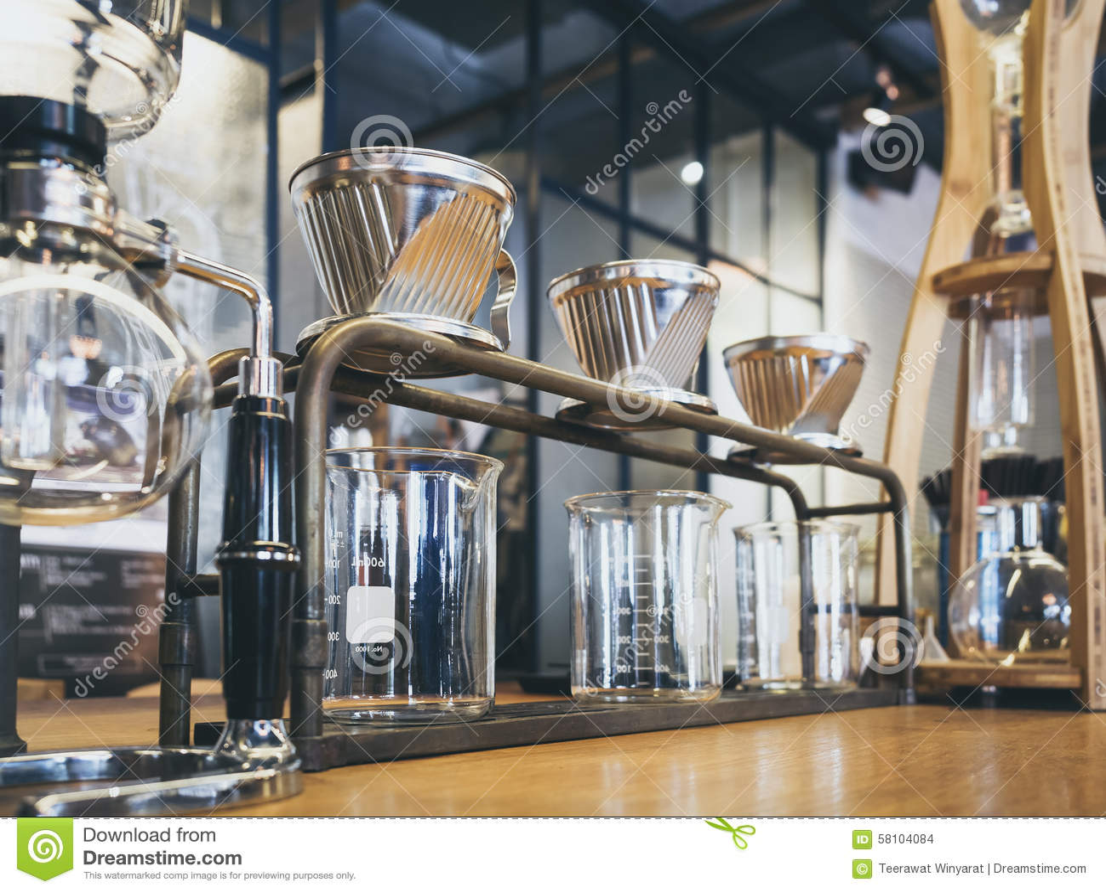 Coffee Table Kits Drip Coffee Glass Kits Coffee Shop Cafe Display Stock Photo