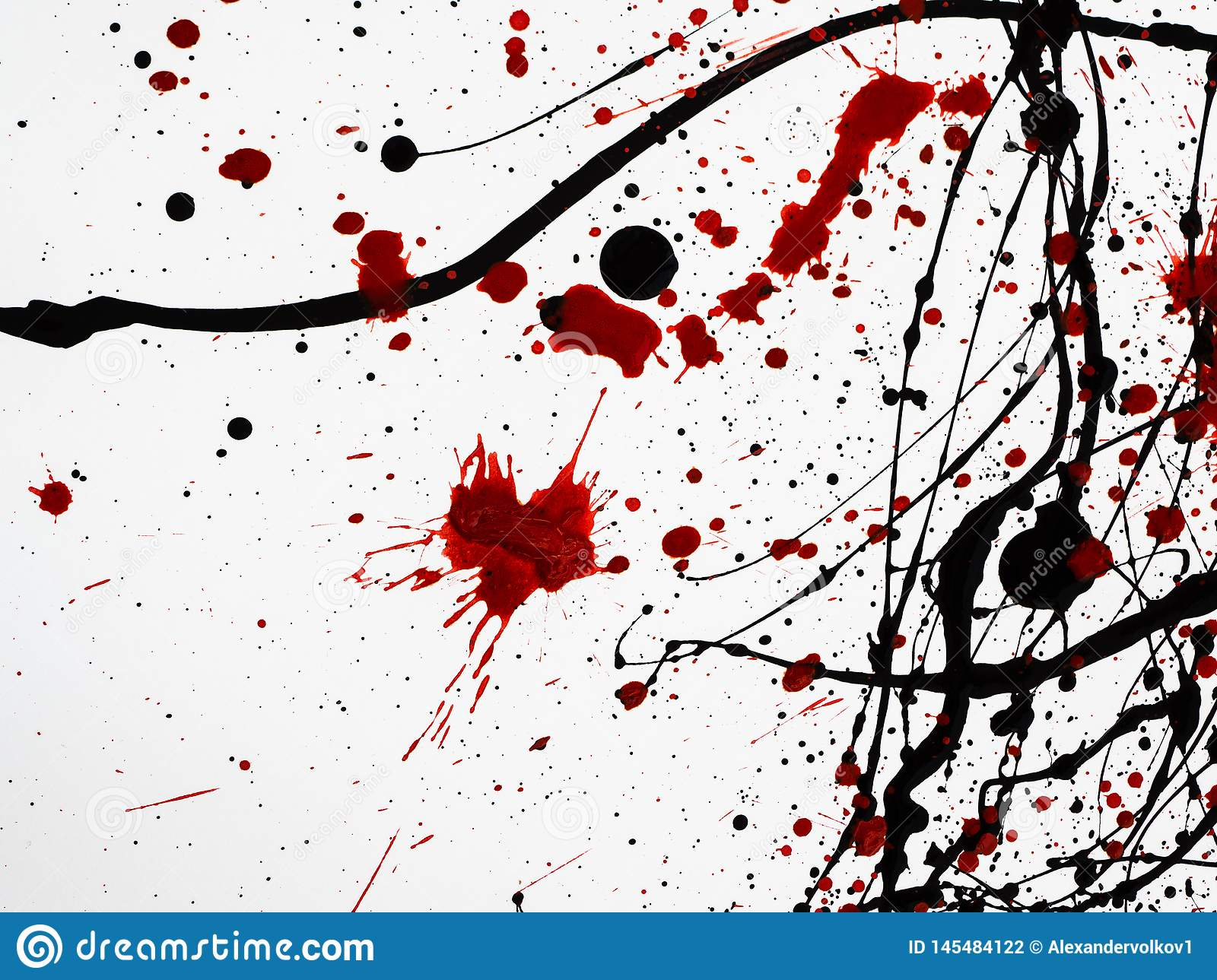 Dripping black red paint isolated on white background. similar to blood. Flowing fuel oil splashes, drops and trail
