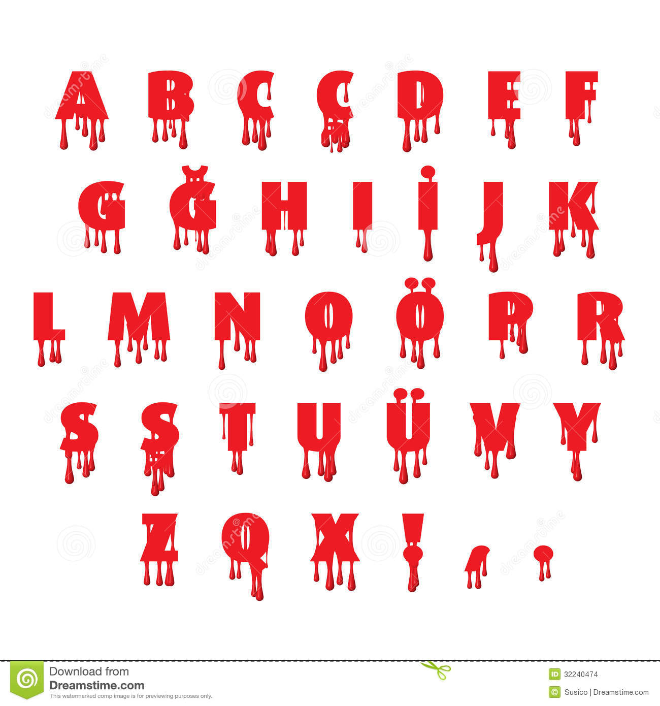 Write alphabet a with blood