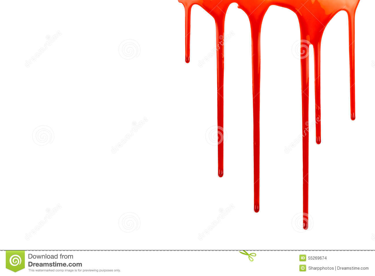 Dripping blood on white with copy space