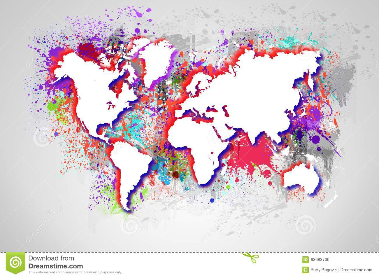 dripping colorful world map stock photo image 63683700. Black Bedroom Furniture Sets. Home Design Ideas