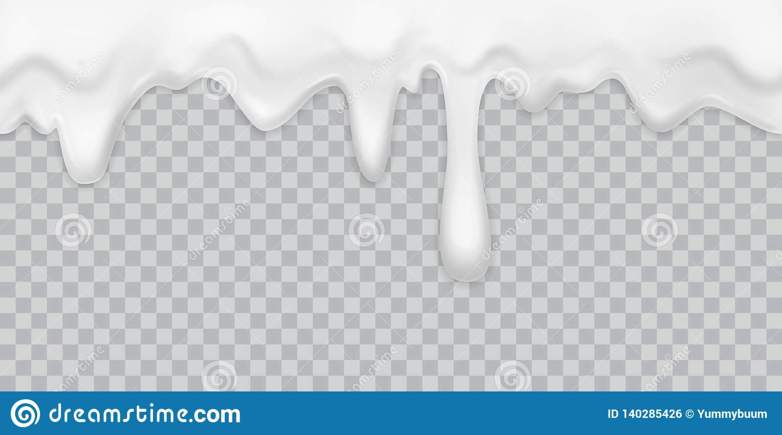 Dripping cream. Milk yogurt pouring white cream border with drops drink dessert mayonnaise flow isolated vector creamy