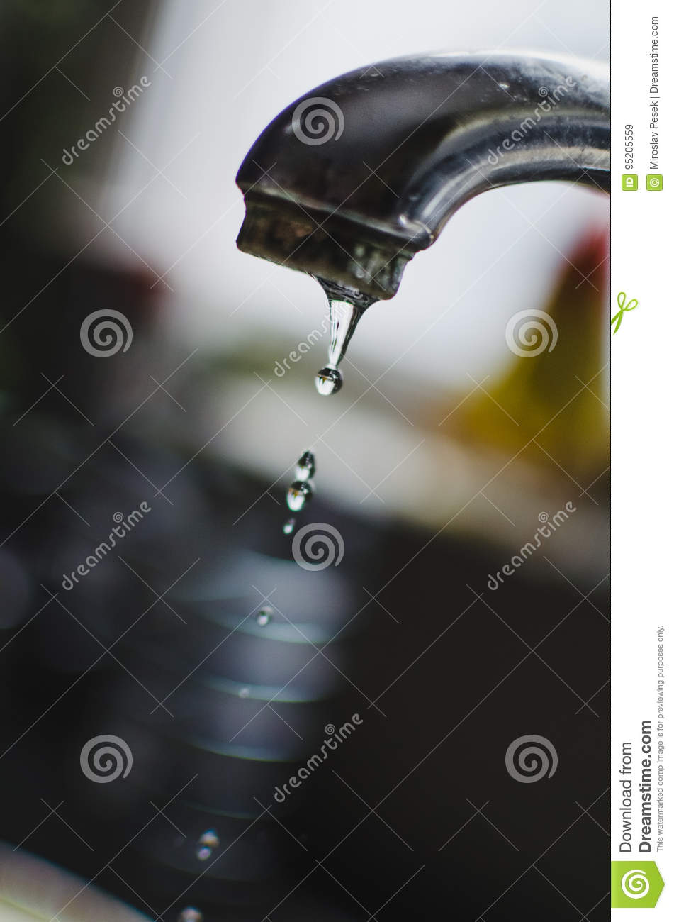 Dripping kitchen tap stock image. Image of sink, droplet - 95205559