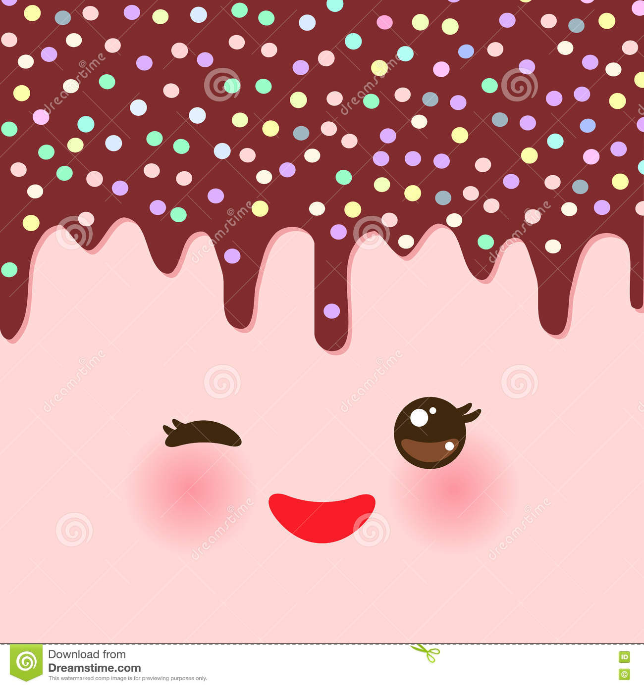 Dripping Melted chocolate Glaze with sprinkles. Kawaii cute face with eyes and smile. pink background for your text. Vector