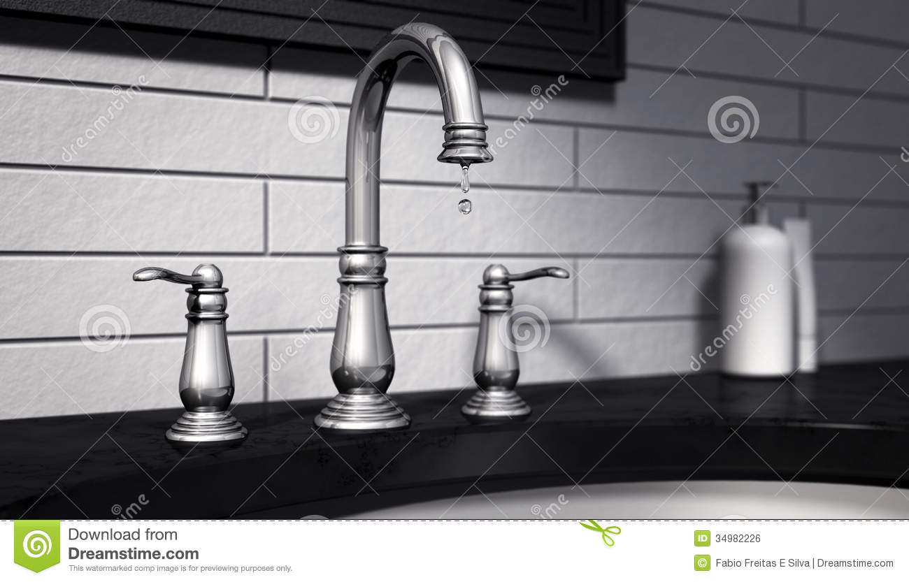 Dripping Tap Stop Wasting Water Stock Illustration - Illustration of ...
