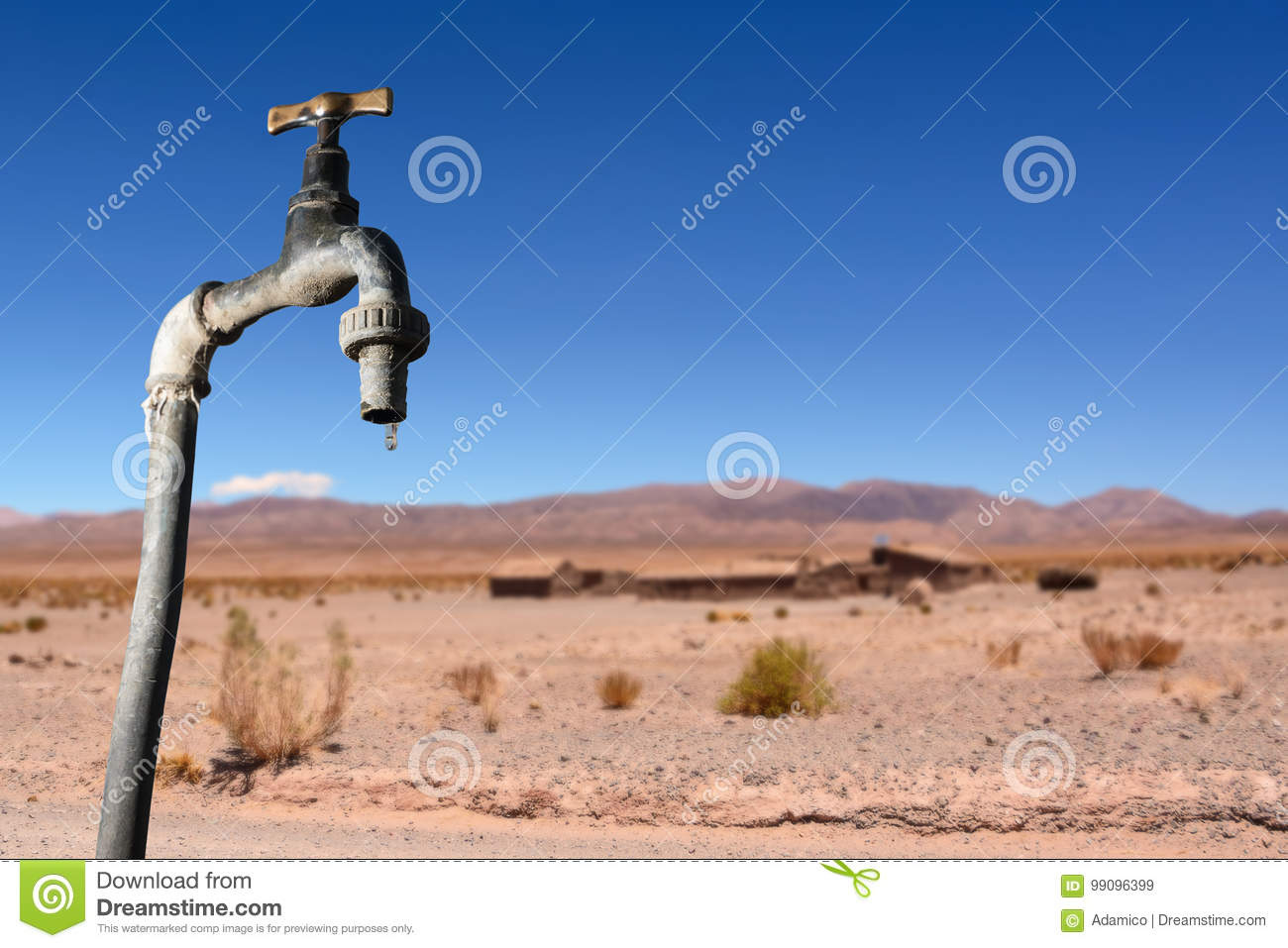 Drips faucet and dry environment in the background