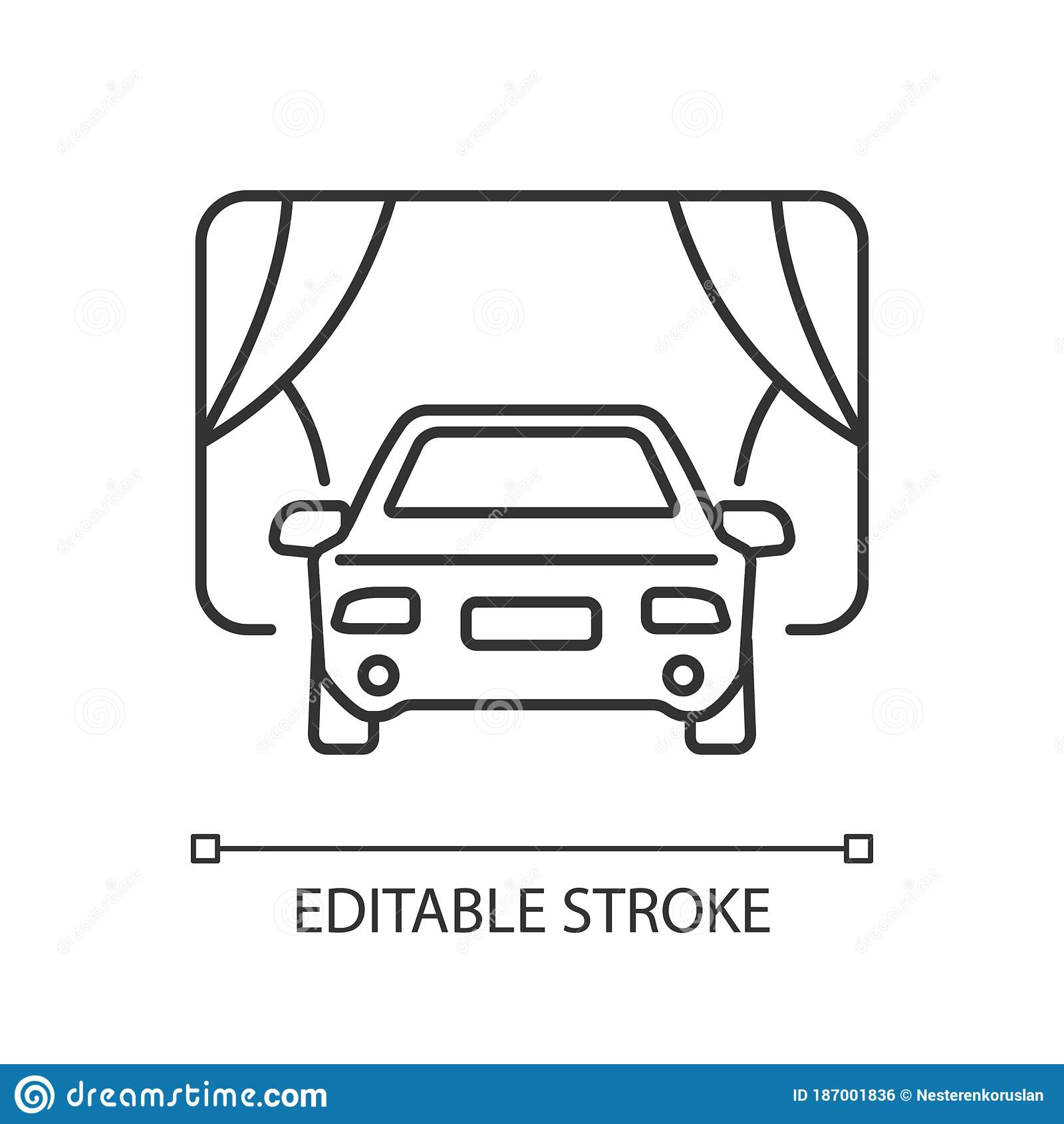 Drive In Movie Theater Pixel Perfect Linear Icon Stock Vector Illustration Of Outdoor Drive 187001836
