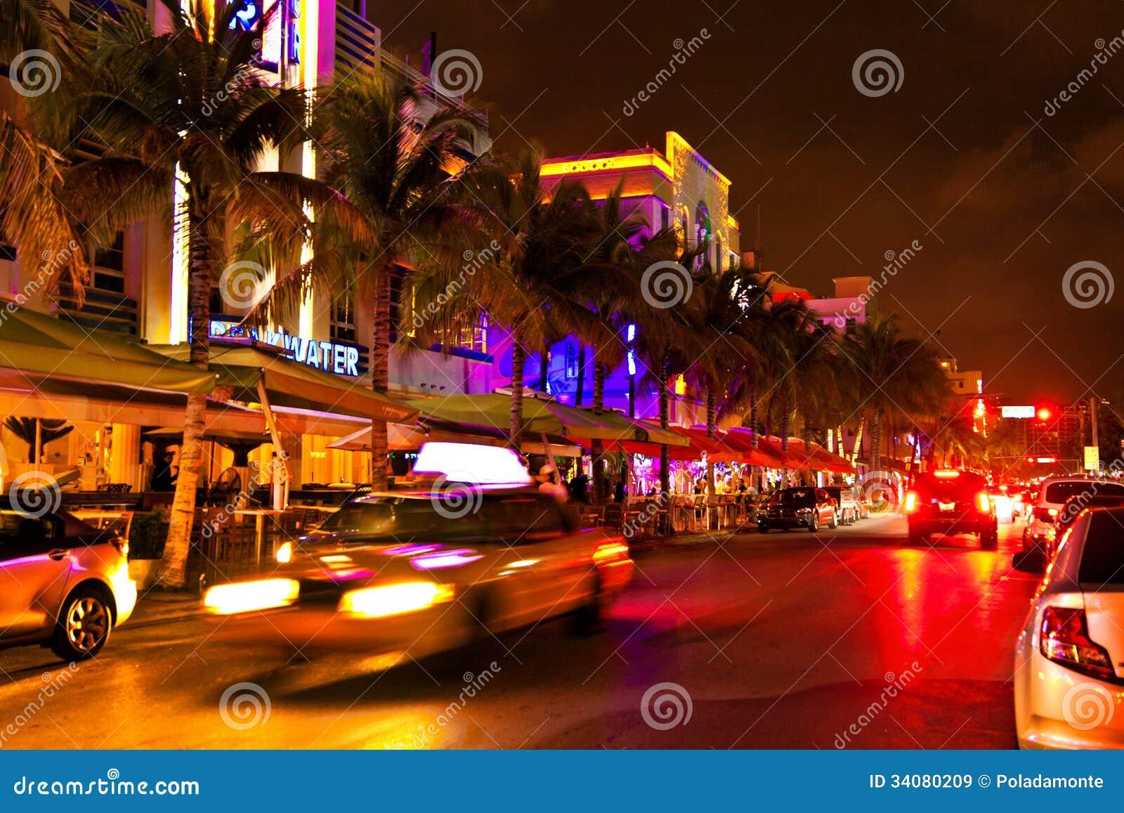 Drive Scene At Night Lights, Miami Beach, Florida. Editorial Stock Image