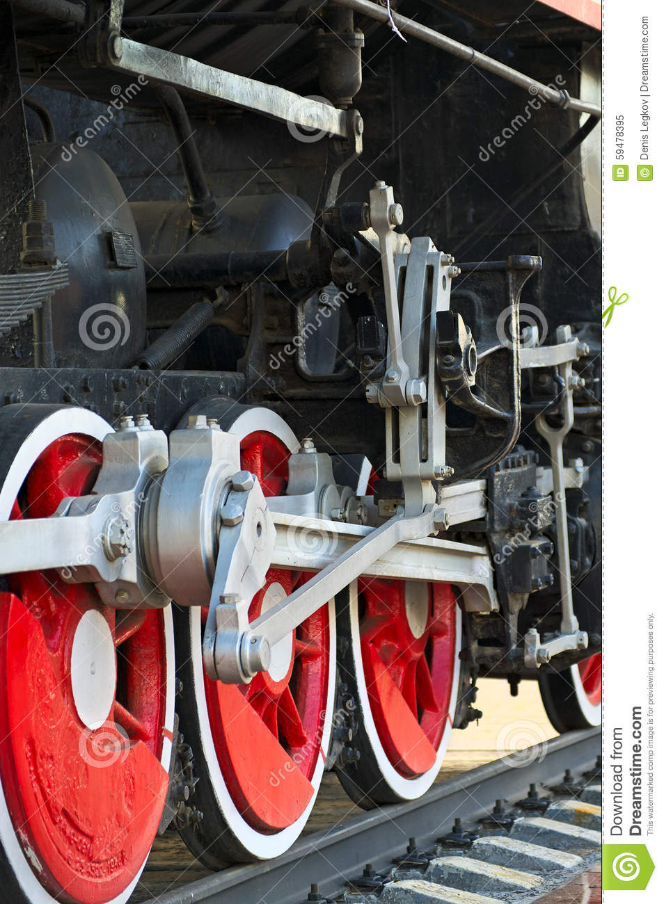Steam Engine Wheel Driving : Drive traction wheels of a steam locomotive stock image