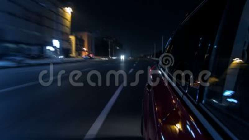 Drivelapse Urban Look From Fast Driving Car At A Night Avenue In A City  Timelapse Hyperlapse Stock Video - Video of reflection 05adec6cf