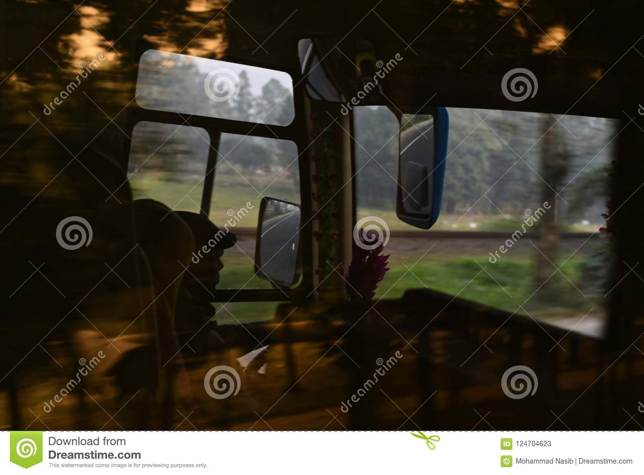 Download Man Is Driving A Public Coach Isolated Unique Photo Editorial Stock Photo - Image of reflection, road: 124704623