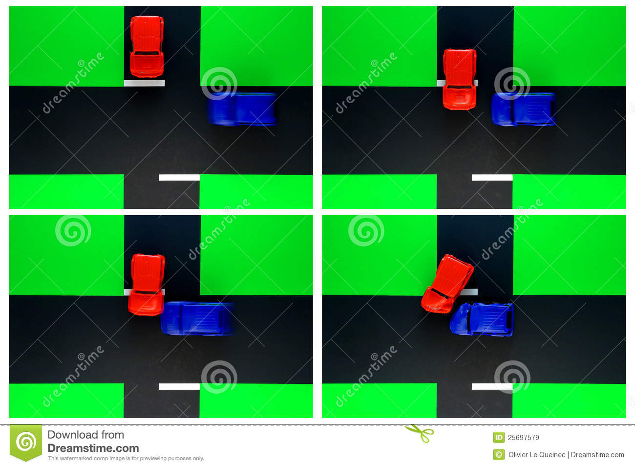 Driver Ed Toy Car Crash Of Stop Sign Road Accident Stock Image ...