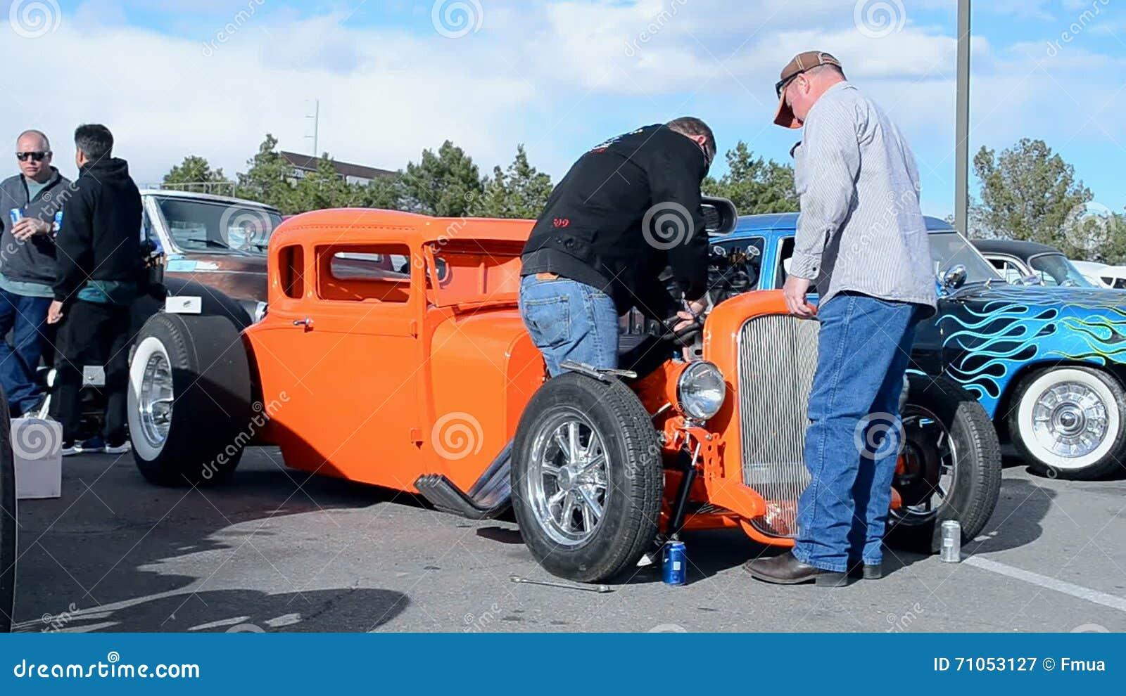 Driver Fixing The Car During Viva Las Vegas Car Show Las Vegas - Vegas rockabilly car show