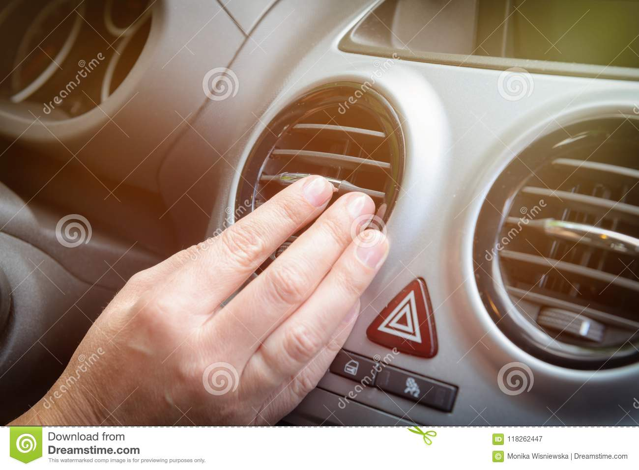 Driver Hand Tuning Air Ventilation Grille Stock Image Image Of