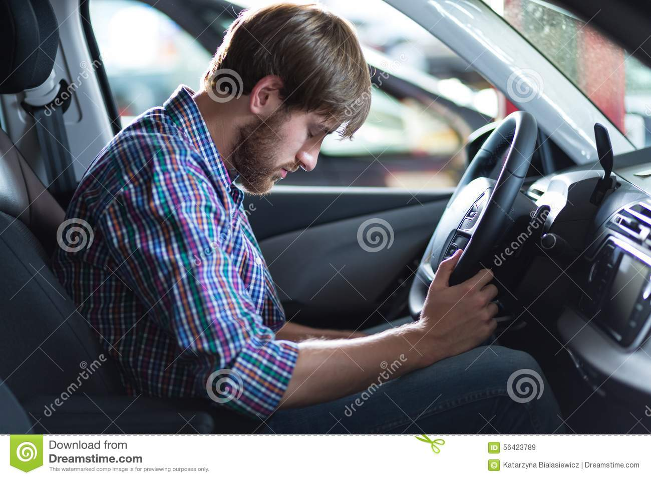Driver having problem with car