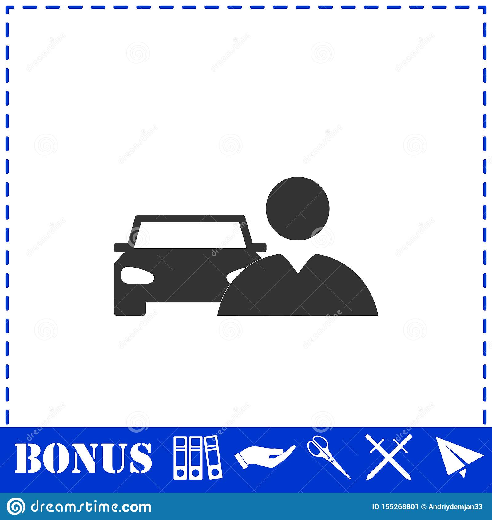 Driver Icon Flat Stock Vector Illustration Of Automobile