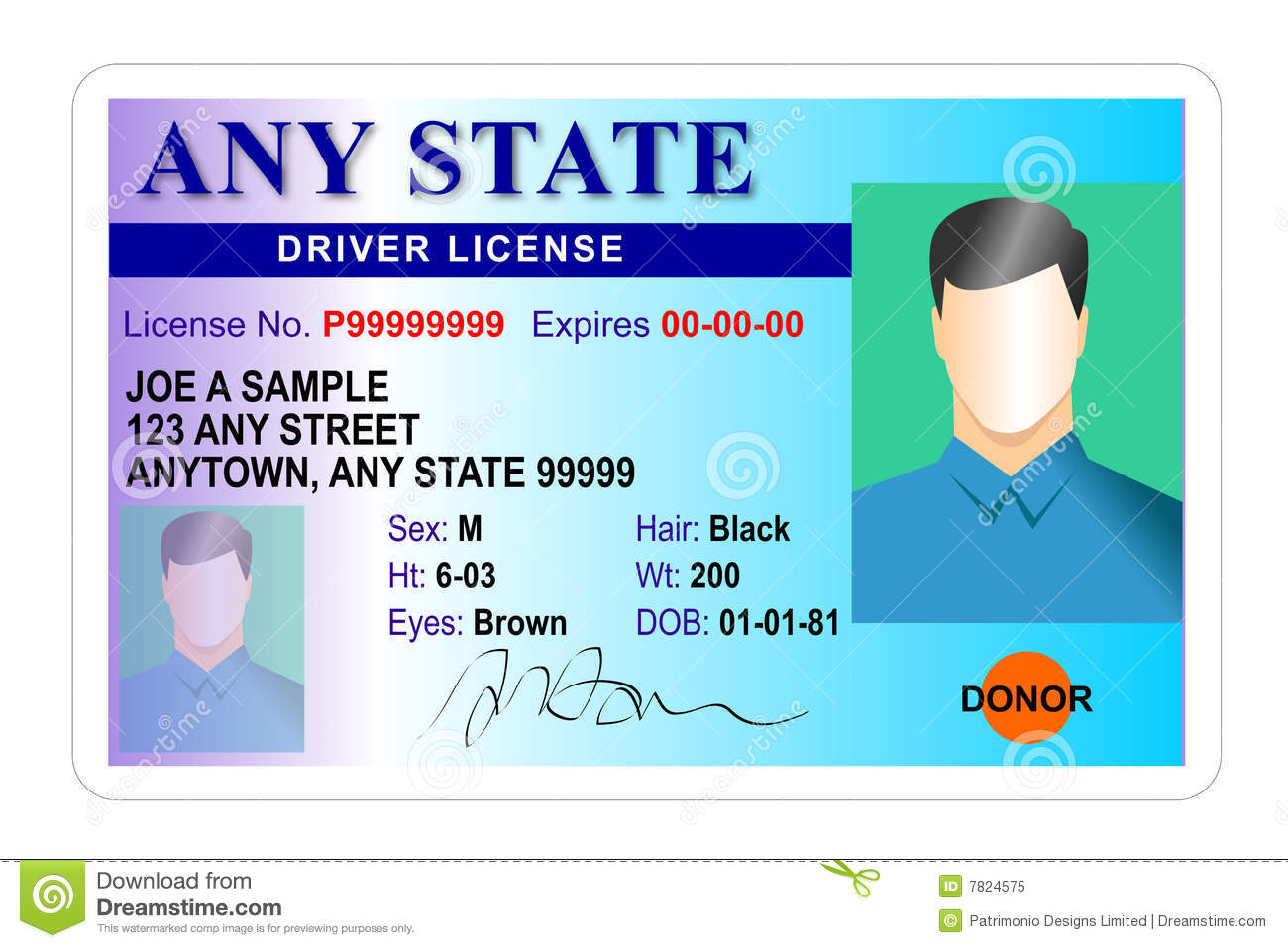 Driver License Identity Card Stock Illustrations Driver - Free drivers license template photoshop
