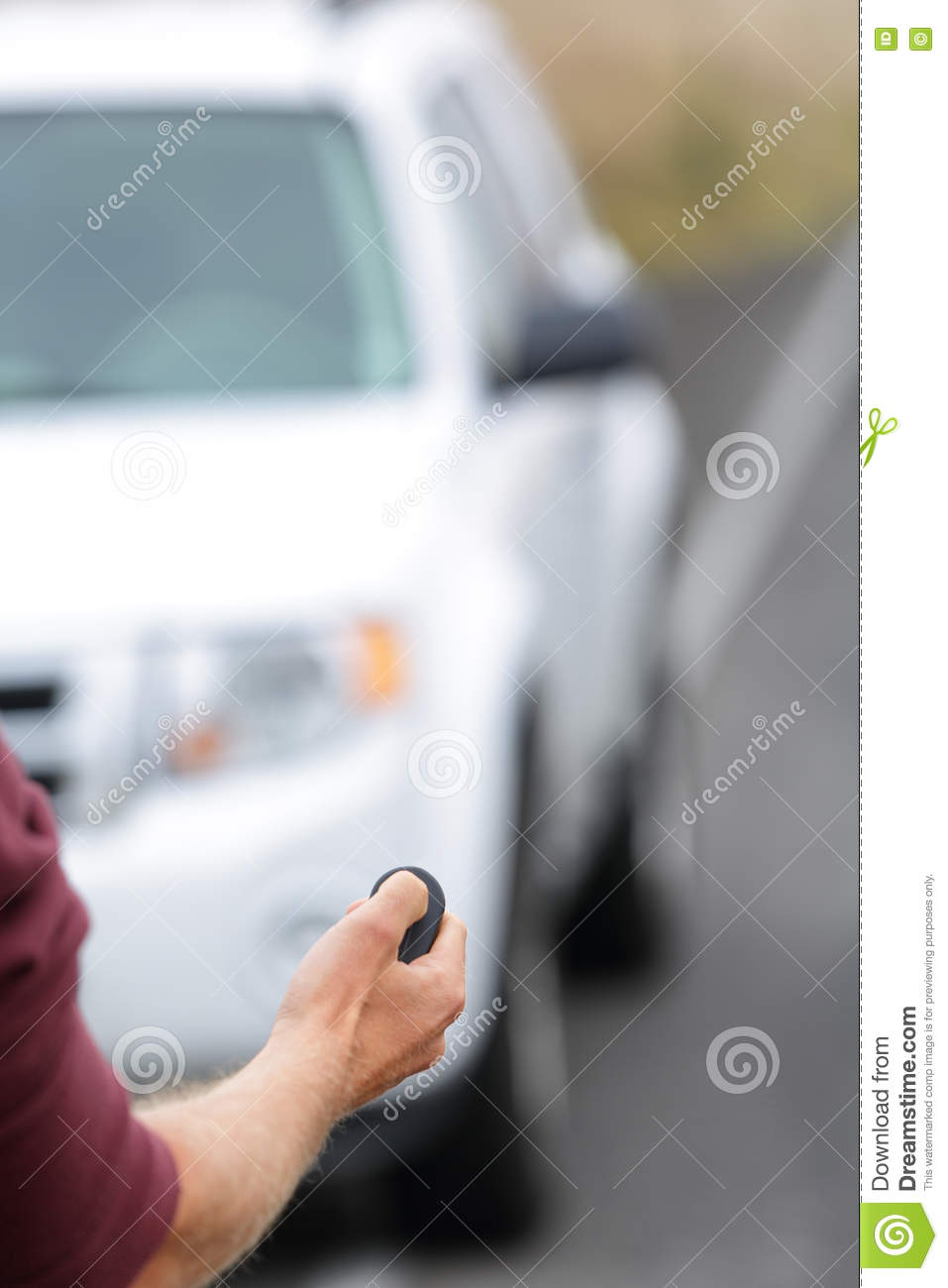 Driver starting car with keyless remote control