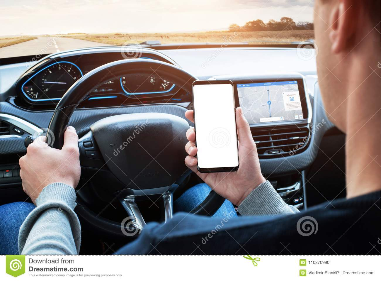 Driver Use Smart Phone While Driving Isoalted Screen For App