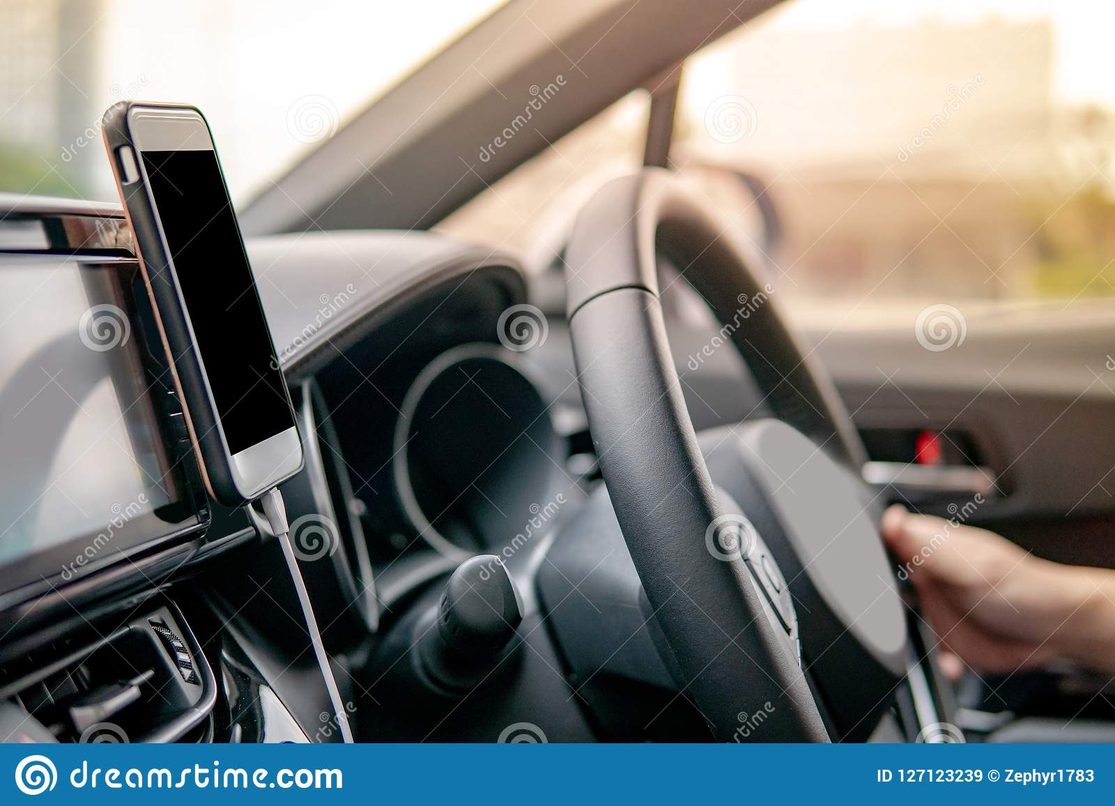 Driver Using Mobile App For GPS Navigation Stock Image