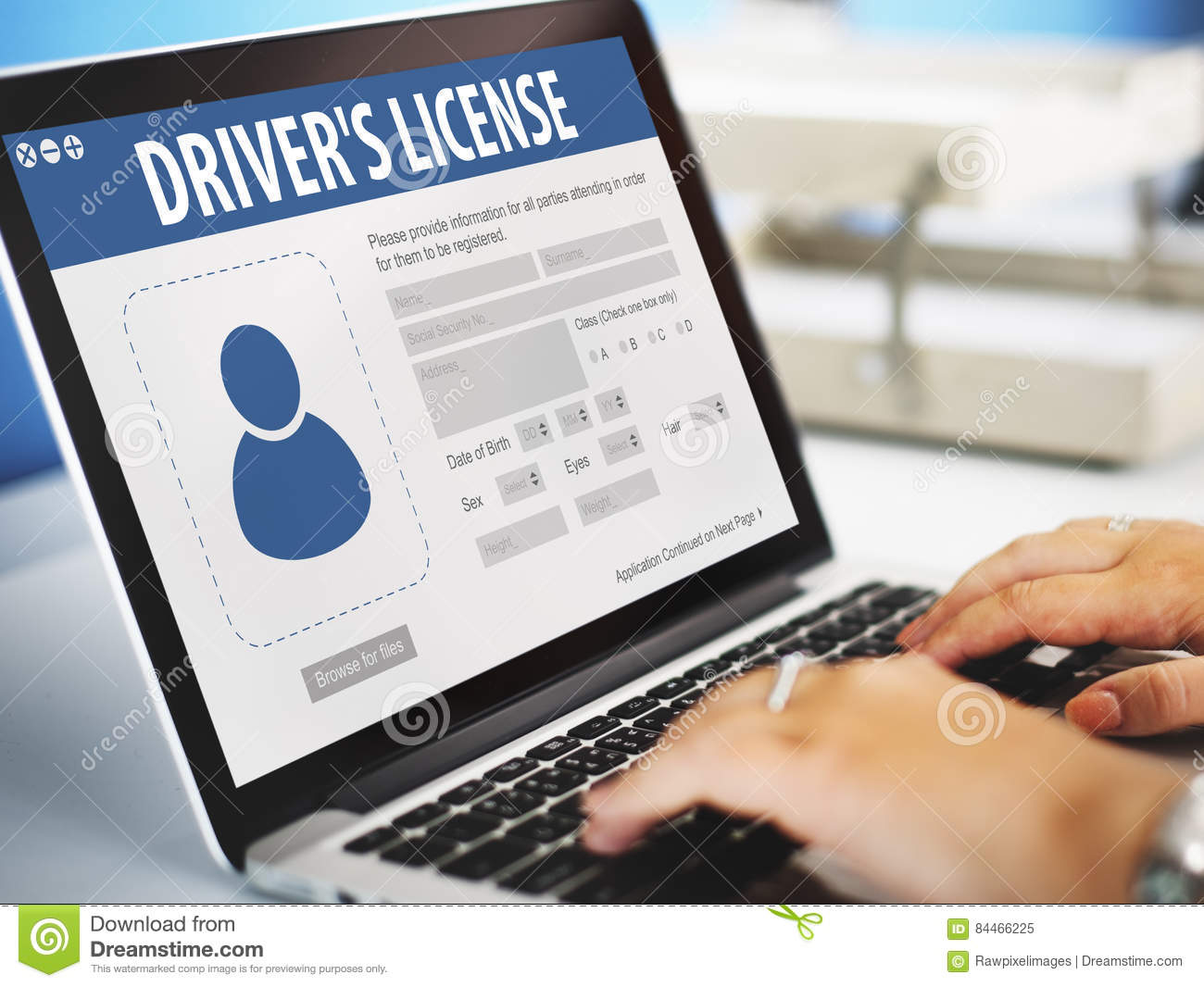 Drivers License Registration Application Webpage Concept