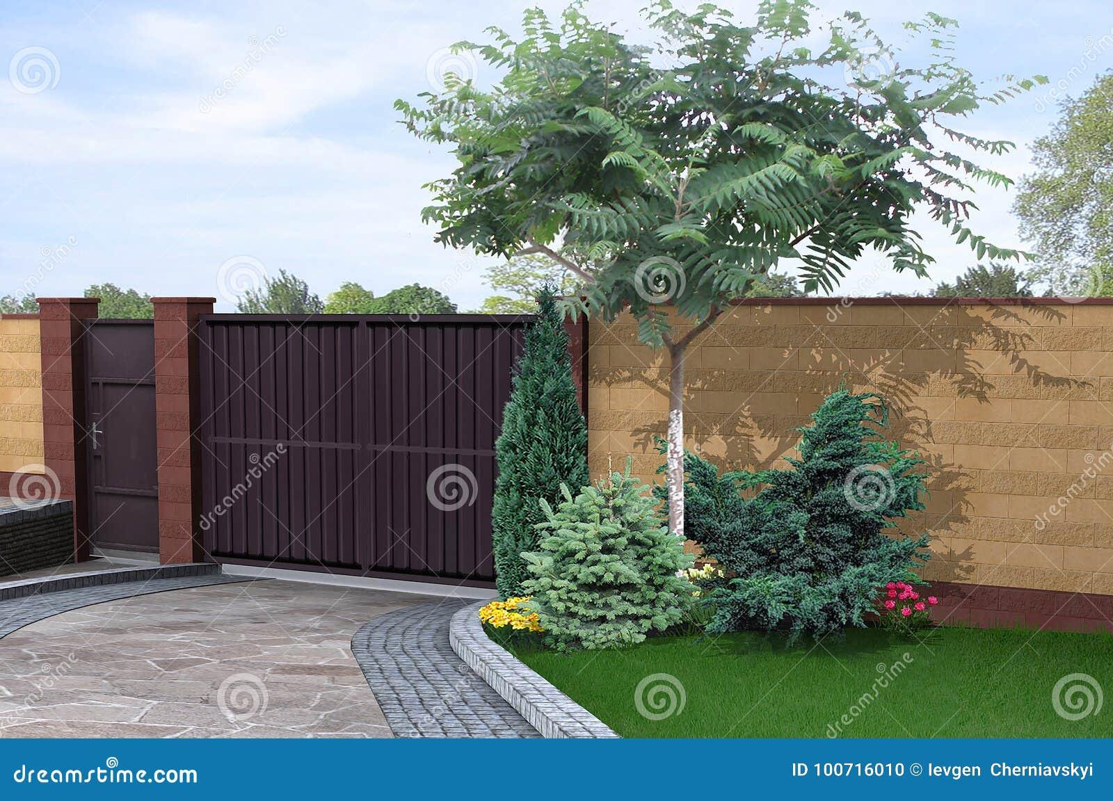 Driveway And Walled Garden Design Ideas, 3d Render Stock ...