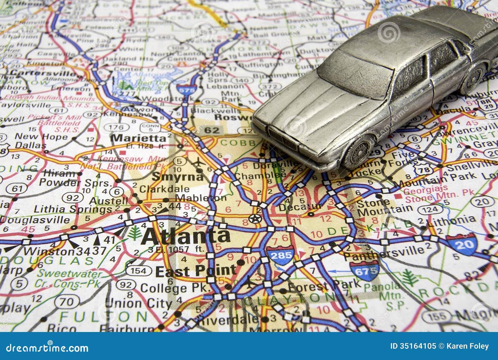 Driving Map Of Georgia.Driving In Atlanta Stock Image Image Of Georgia Auto