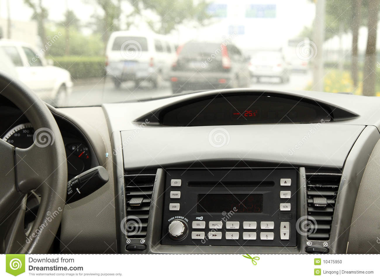 Driving in the car console.