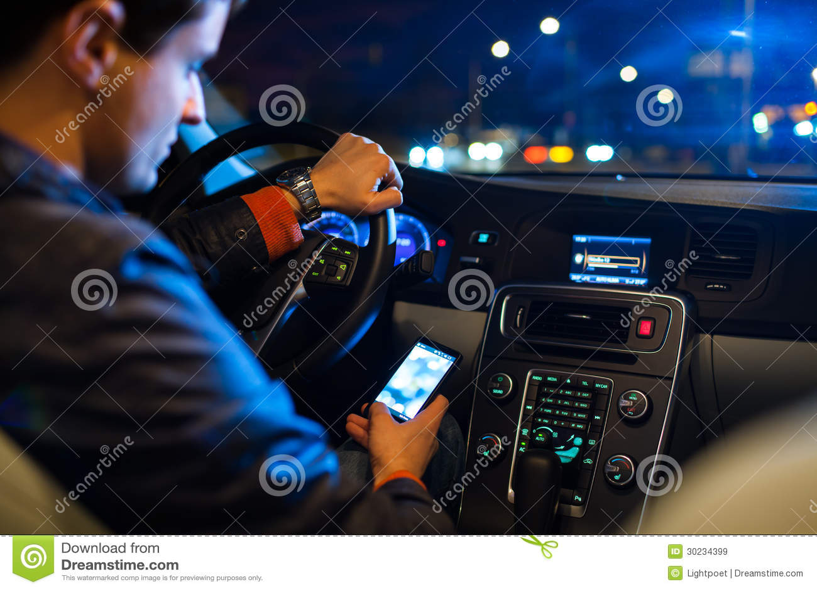 Driving A Car At Night Royalty Free Stock Images Image