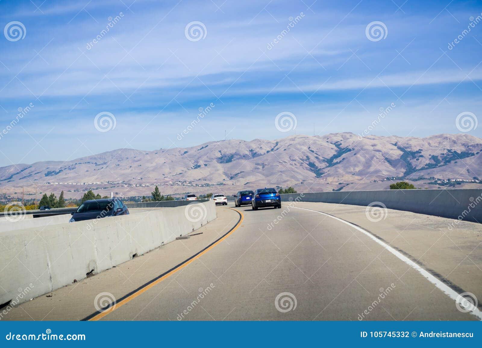 Express Lane California >> Driving On The Express Lane To Switch Between Highways Stock