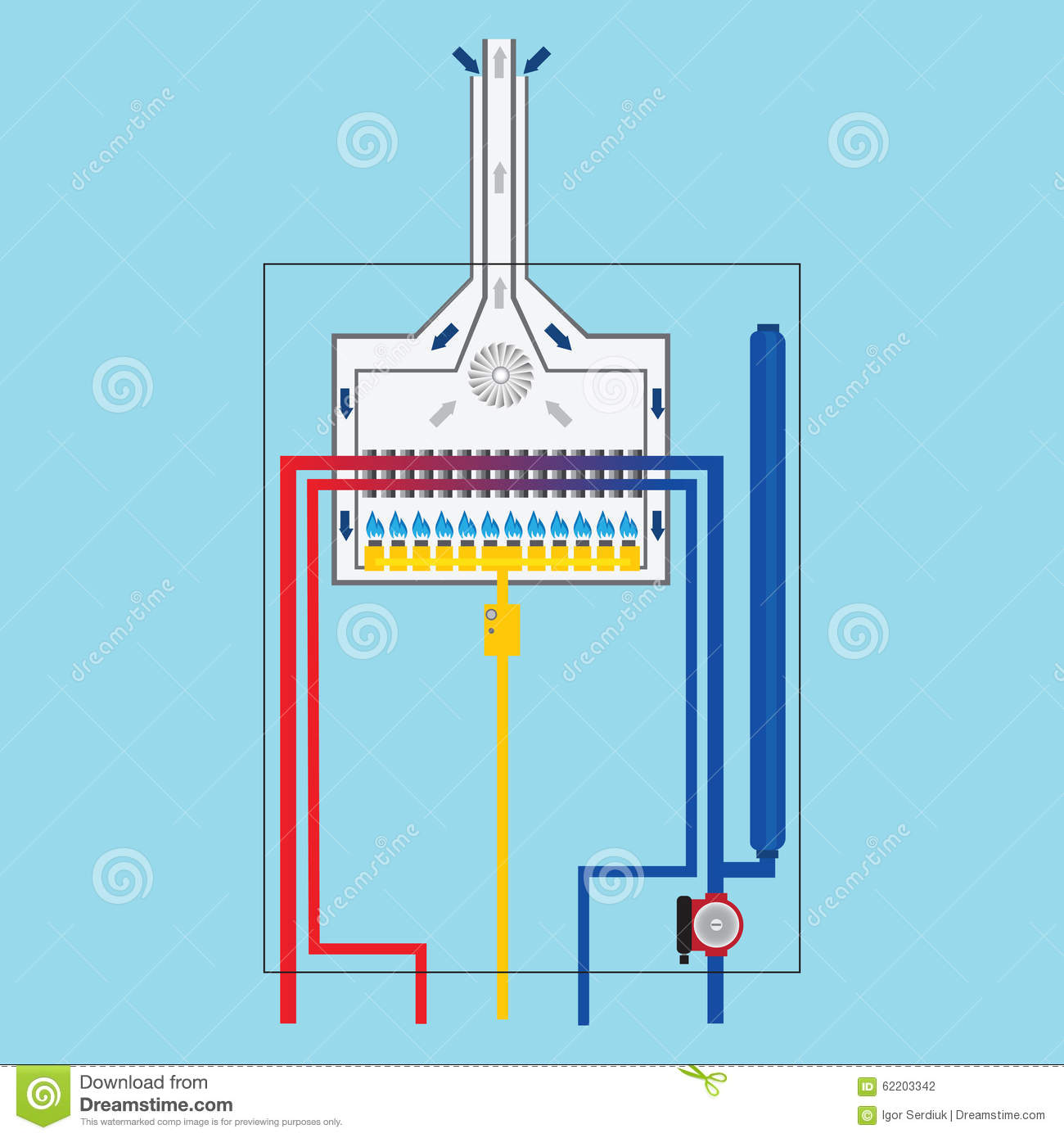 Driving Gas Boiler. Gas Boiler Flat Icon. Stock Vector ...