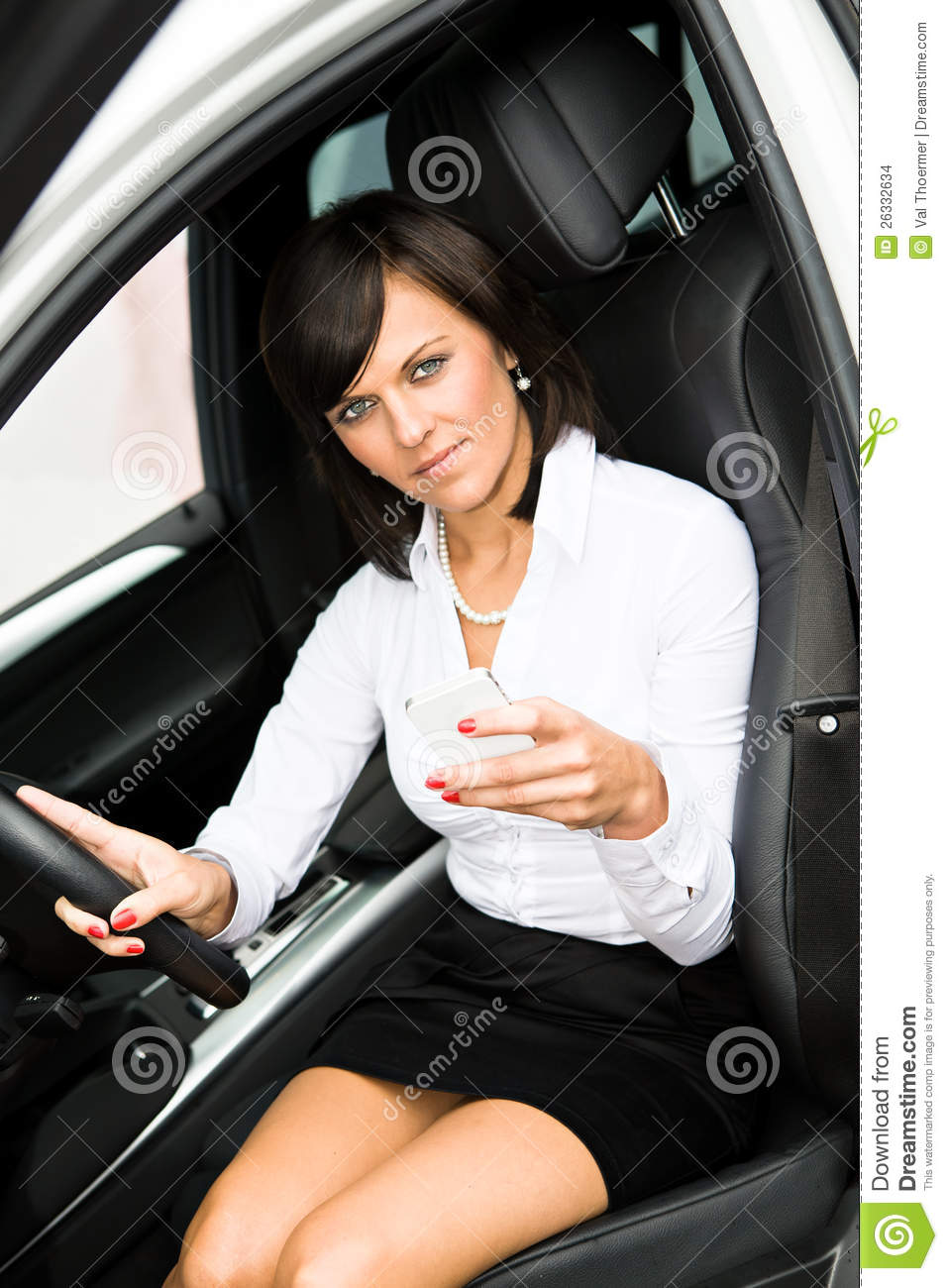 Girl Driving In Interiro Of The Car