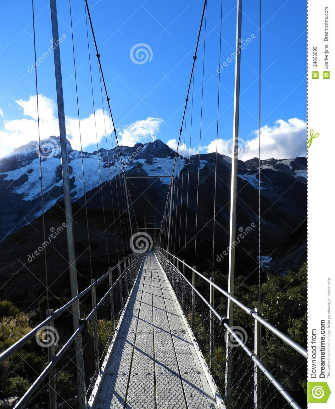 Suspension bridge on the Valley Track, Mount Cook National Park