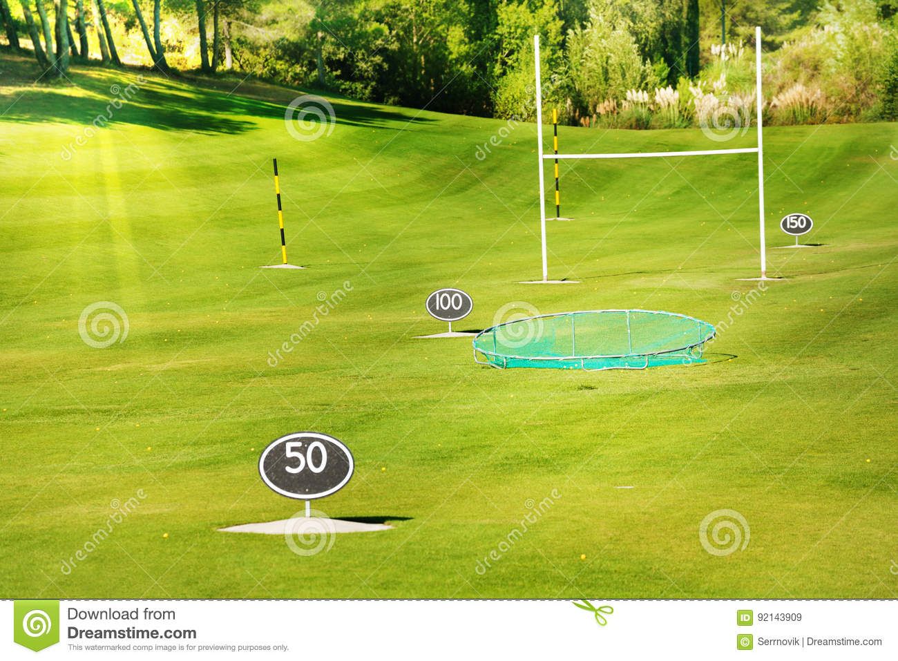 Driving Range At Golf Course With Yard Signs Stock Image ...