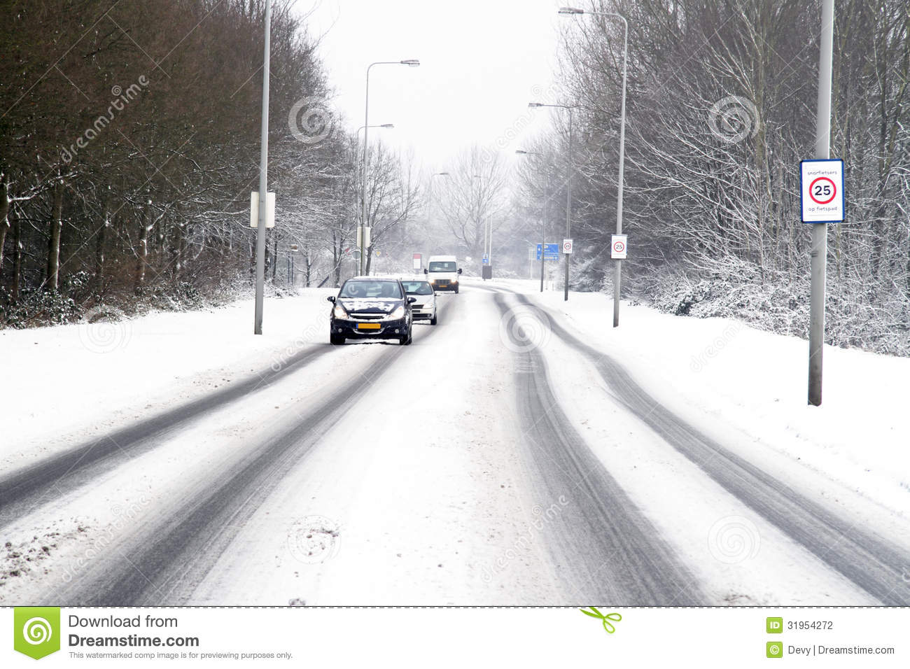 Driving In The Snow In The Netherlands