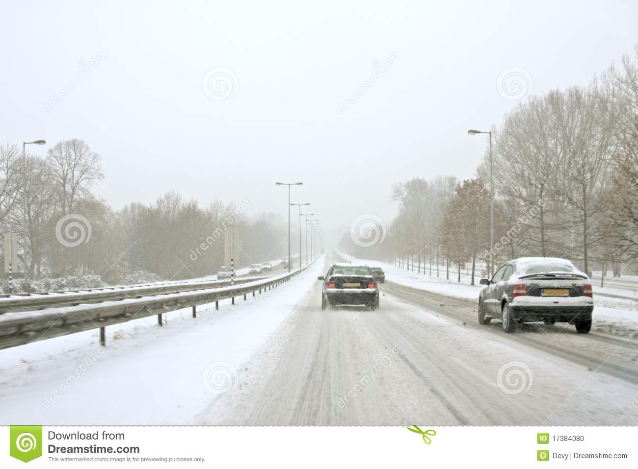 Driving During A Snowstorm In The Netherlands