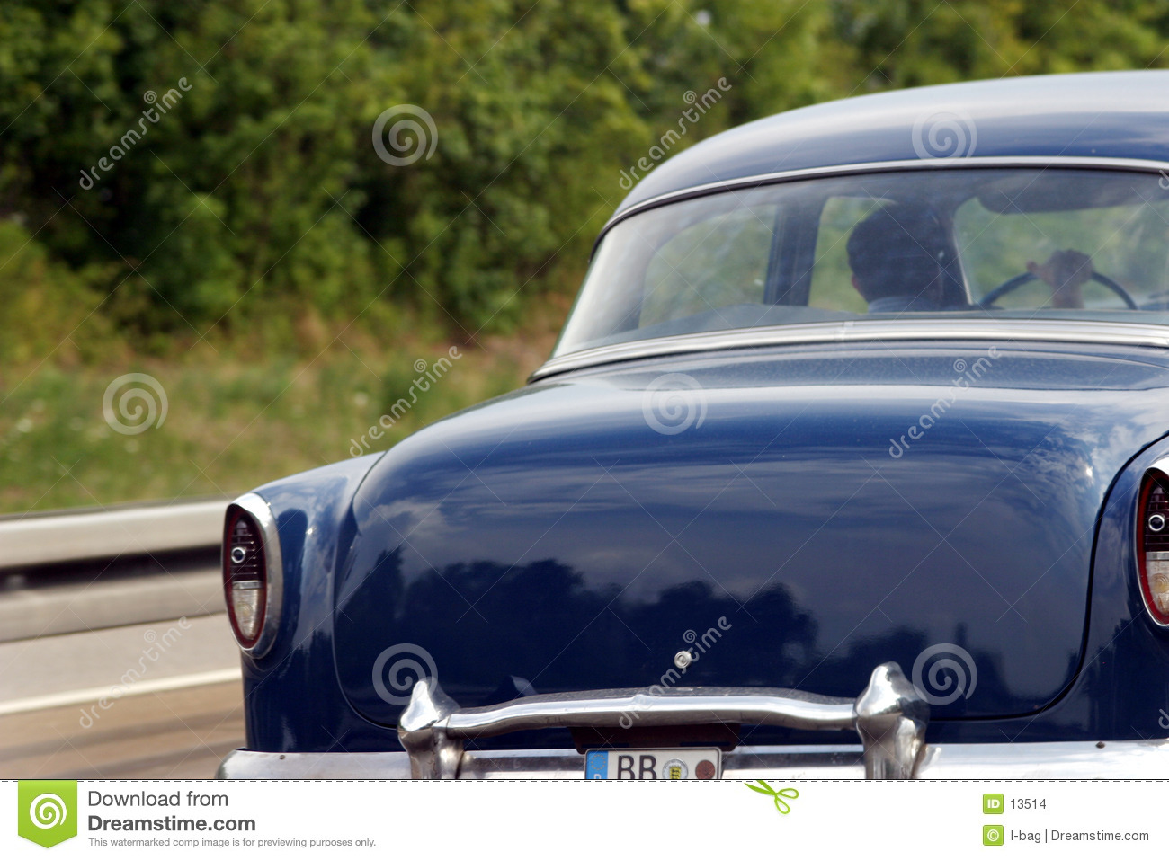 Driving the vintage car